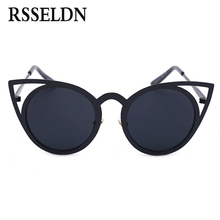 RSSELDN Fashion Cat Eye Sunglasses Women Brand Designer Sun Glasses For Ladies cateye Mirror Female Vintage UV400 oculos de sol