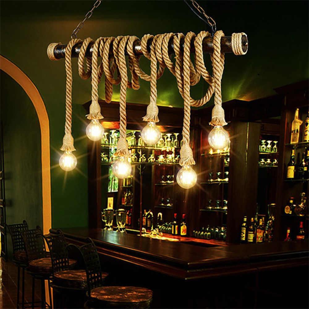 Винтажный промышленный Декор Подвеска двойная голова деревянная лампа E27 лампочка эдисона на веревке Ресторан тематический Декор пеньковая веревка кофе бар