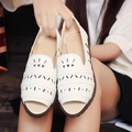 Mouth in the new spring and summer small white women flat shoes with flat shoes of hollow out recreational leather shoes