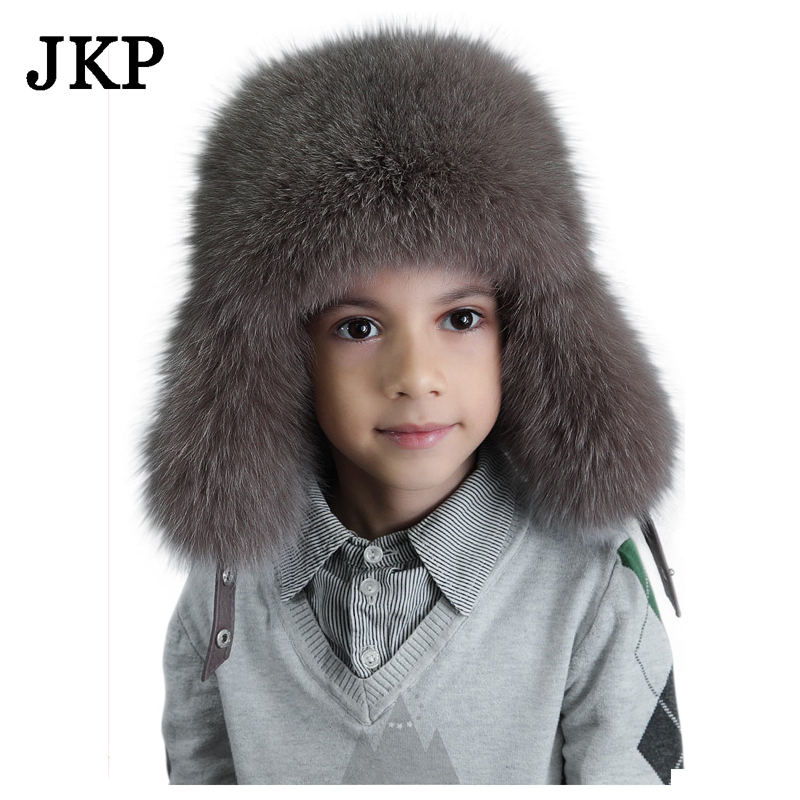 kids Children s hats real fox fur Trapper Hat with pom poms winter ear  flaps bomber hats for boys Russian Ushanka caps d32e7ab090a