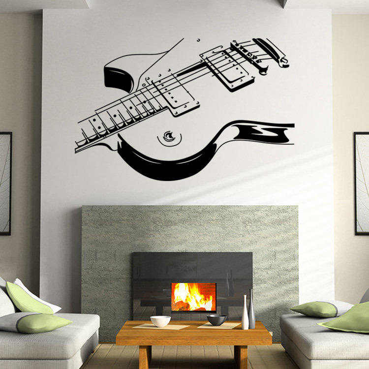 creativa decora una pared poste de la guitarra de la sala de estar del dormitorio