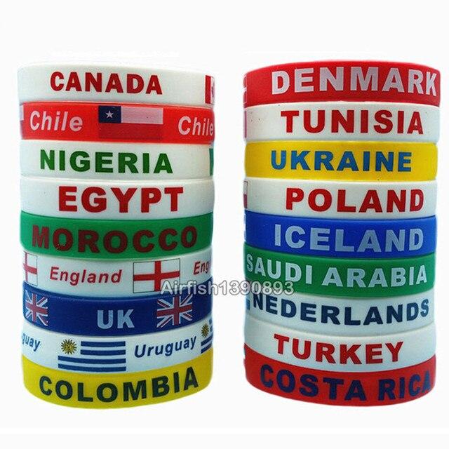 33ab3eeade9e 2 piezas Bandera de juego de deporte Pulsera país del mundo de silicona  brazalete de la ...