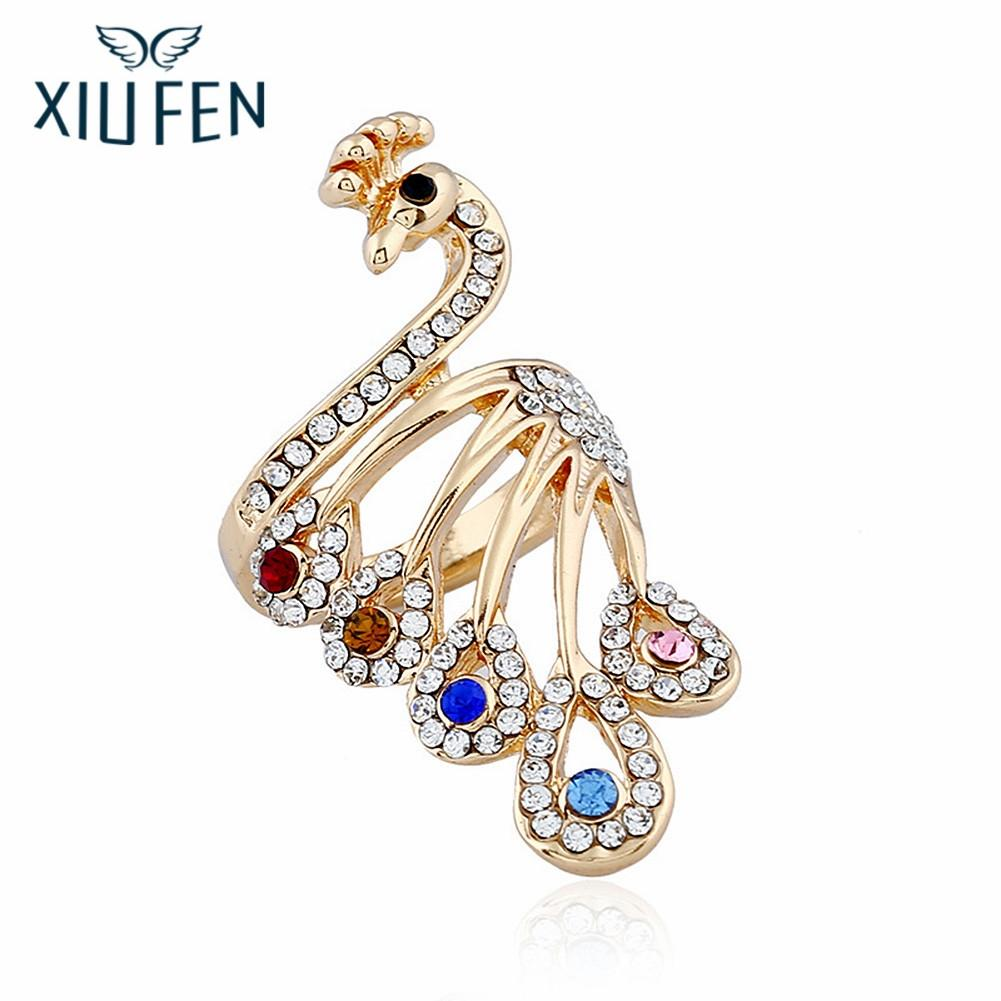 XIUFEN Women Fashion Artificial Stone Peacock Design Ring Unique Style Finger Rings as Perfect Gift