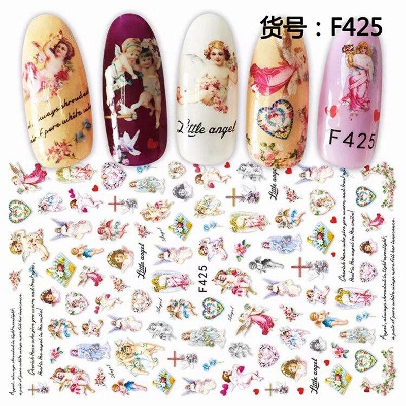 Самоклеящиеся ангельские цветочные узоры 3D переводные наклейки для ногтей, маникюрные украшения для ногтей, аксессуары для ногтей, принадлежности F #|Стикеры и наклейки|   - AliExpress