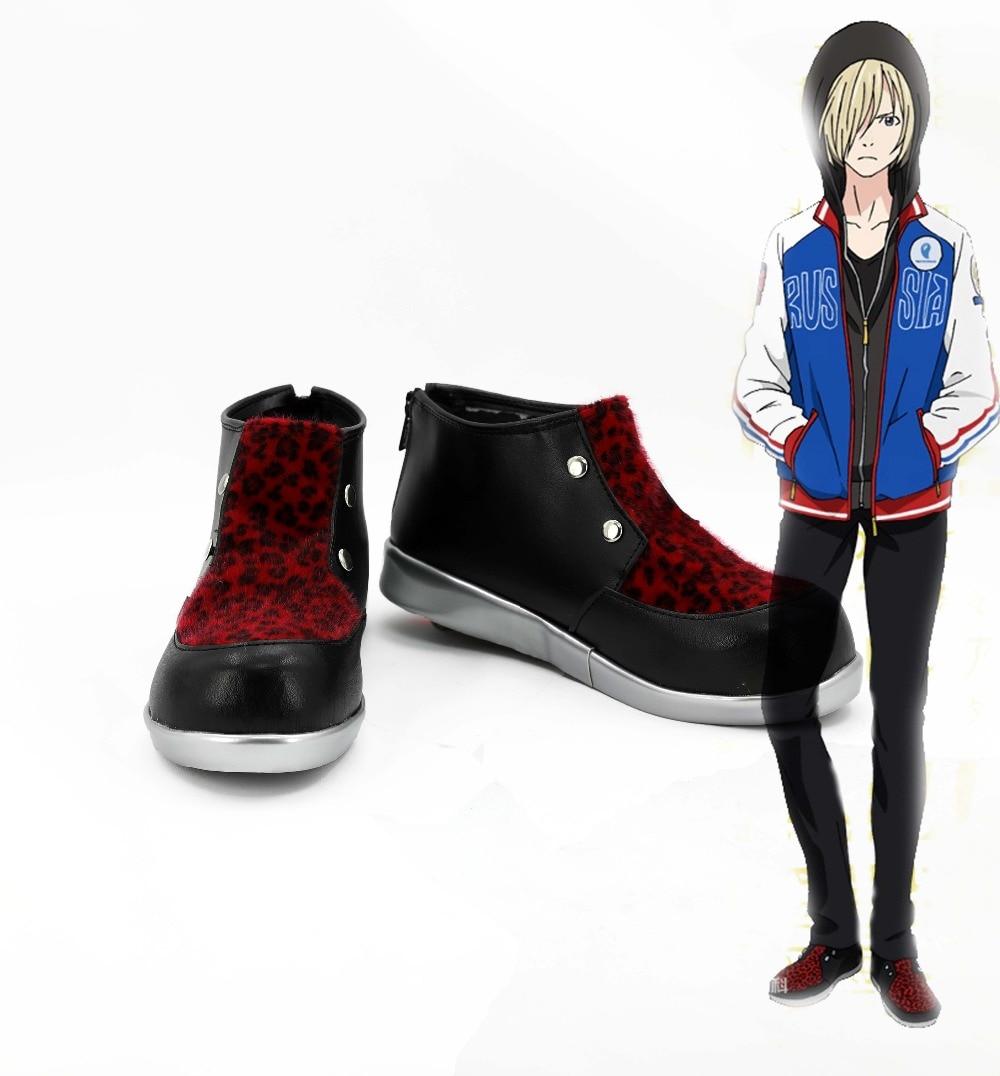 Anime Yuri!!! on Ice Yuri Plisetsky Cosplay Shoes Red Leopard Print Shoes Casual Men