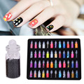 New 48 Bottles Nail Art Pearl Sequin Glitter Powder Acrylic Rhinestone Nail Decor