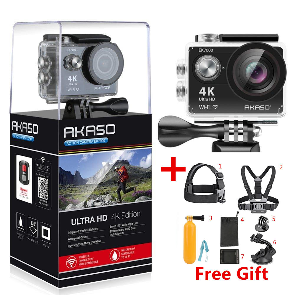AKASO EK7000 4k WIFI Outdoor Sport Action Camera Ultra HD Waterproof DV Camcorder 12MP Extreme Underwater 1080p 60fps Video Cam(China)
