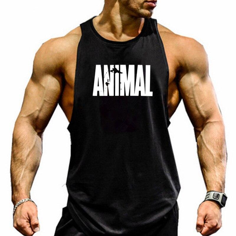 Men's Cotton Sleeveless shirt animal Bodybuilding Workout   Tank     Tops   Muscle Fitness Shirts Male Gym Skull Beast Stringer Vest