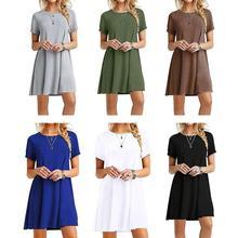 Женское летнее платье размера плюс, короткий рукав, мини-платье-футболка, однотонный цвет, вырез лодочкой, Повседневный пуловер, туника, топы vestidos