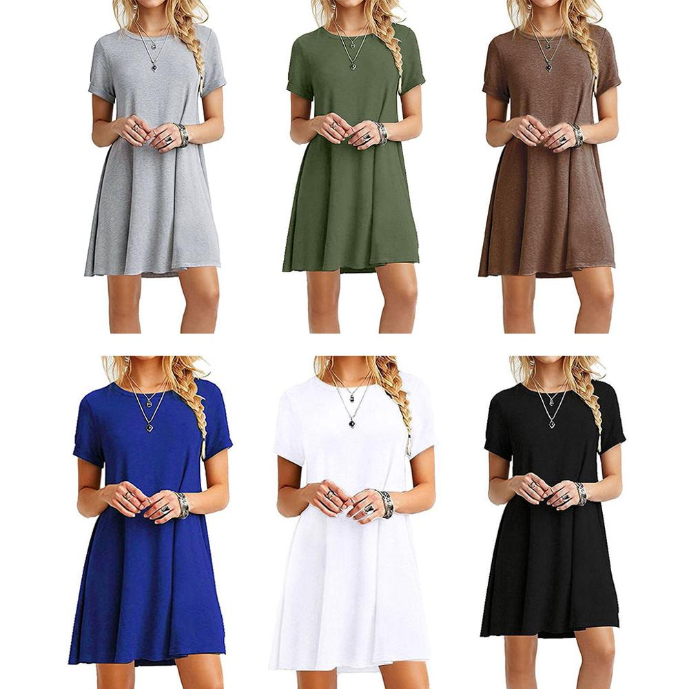 Womens Summer Plus Size Short Sleeves Mini Swing T-Shirt Dress Plain Solid Color Crew Neck Casual Pullover Tunic Tops Vestidos
