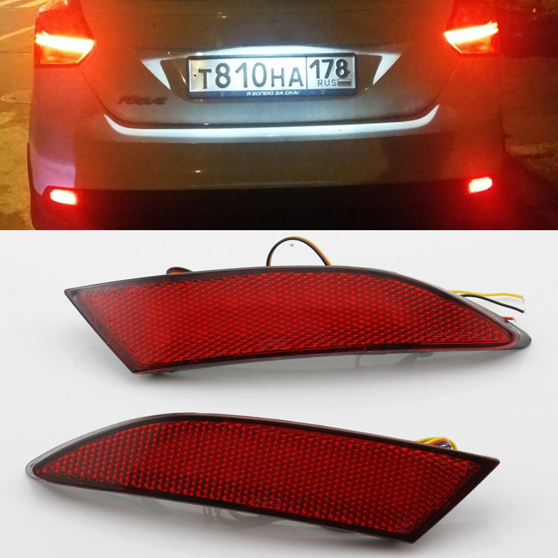 LED Tail Red Rear Bumper Reflector Light Lamp For Ford Focus 2012 Turn Signal Light 2PCS