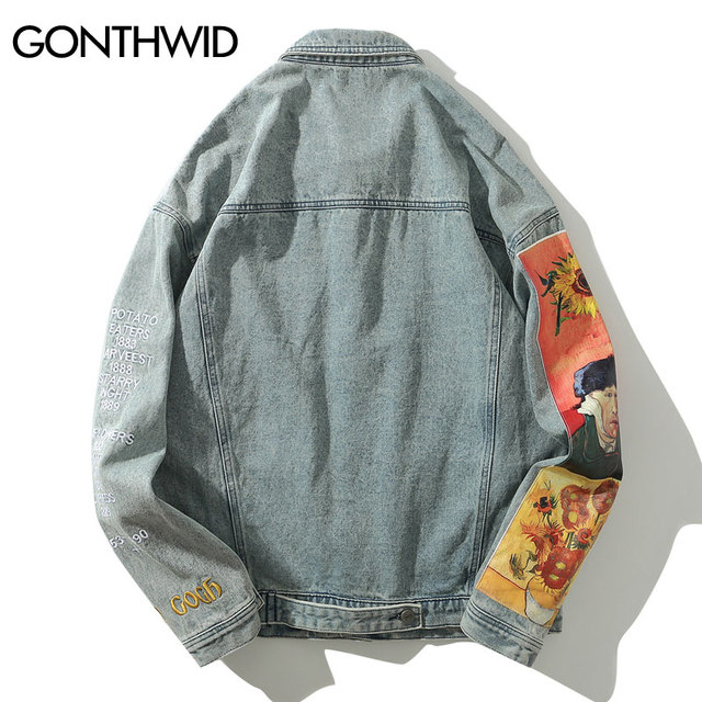 GONTHWID Van Gogh Painting Patchwork Embroidery Denim Jackets Hip Hop Casual Loose Jean Jackets Streetwear Fashion Outwear Coats 2