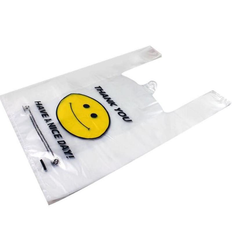 50Pcs/lot Transparent Smiley Plastic Shopping Bag