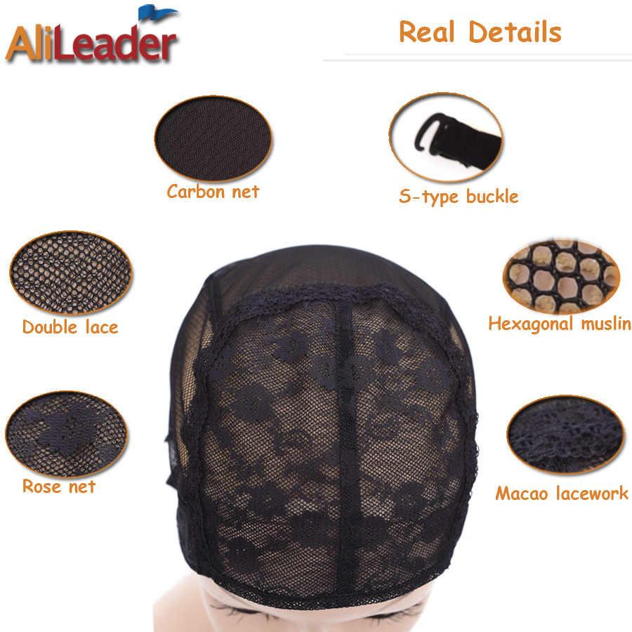 Дешевые 20 шт XL/L/M/S стрейч из швейцарского кружева для парика колпачок для изготовления париков с регулируемыми бретелями черный Hairnet невидимые сетки для волос для парика