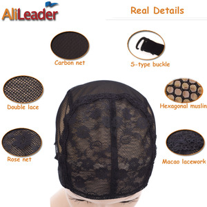 Image 5 - Cheap 20Pcs XL/L/M/S Stretch Swiss Lace Wig Cap For Making Wigs With Adjustable Straps Black Hairnet Invisible Hair Nets For Wig