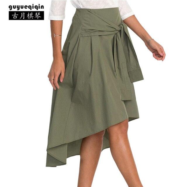 Guyueqiqin модные Повседневное Асимметричная юбка Для женщин не хватает до юбка нерегулярные famme Высокая Талия Юбки для женщин плюс Размеры XL Бесплатная доставка