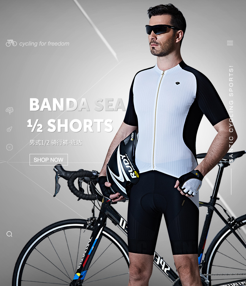 Santic New Summer  Professional Cycling Shorts Mens Italy Padded Bike Shorts Imported Cushion Pad Sponge