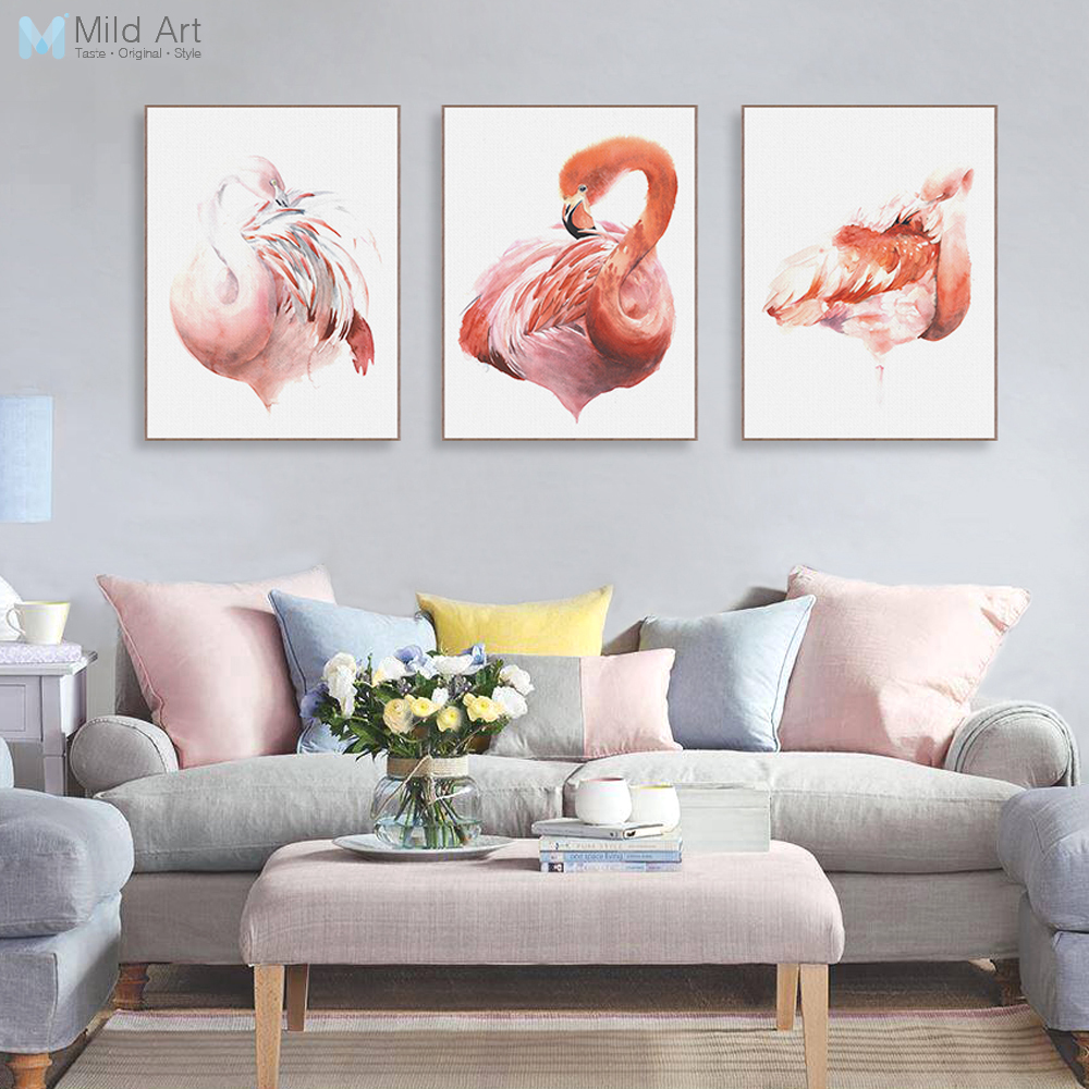 Triptych Nordic Watercolor Animal Flamingo Poster A4 Big Living Room ...