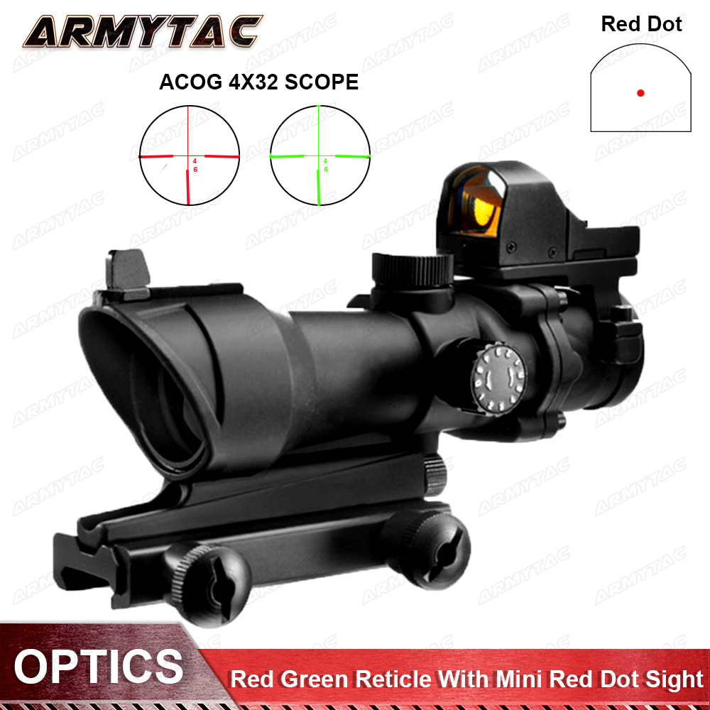 OPTICS Acog 4X32 Optical Scope Red Green Reticle With Mini Red Dot Sight Sniper Riflescope Shooting Rifle Scope for Hunting metal old vintage style mini padlock small luggage box key lock copper color lot of 3 home usage hardware decoration