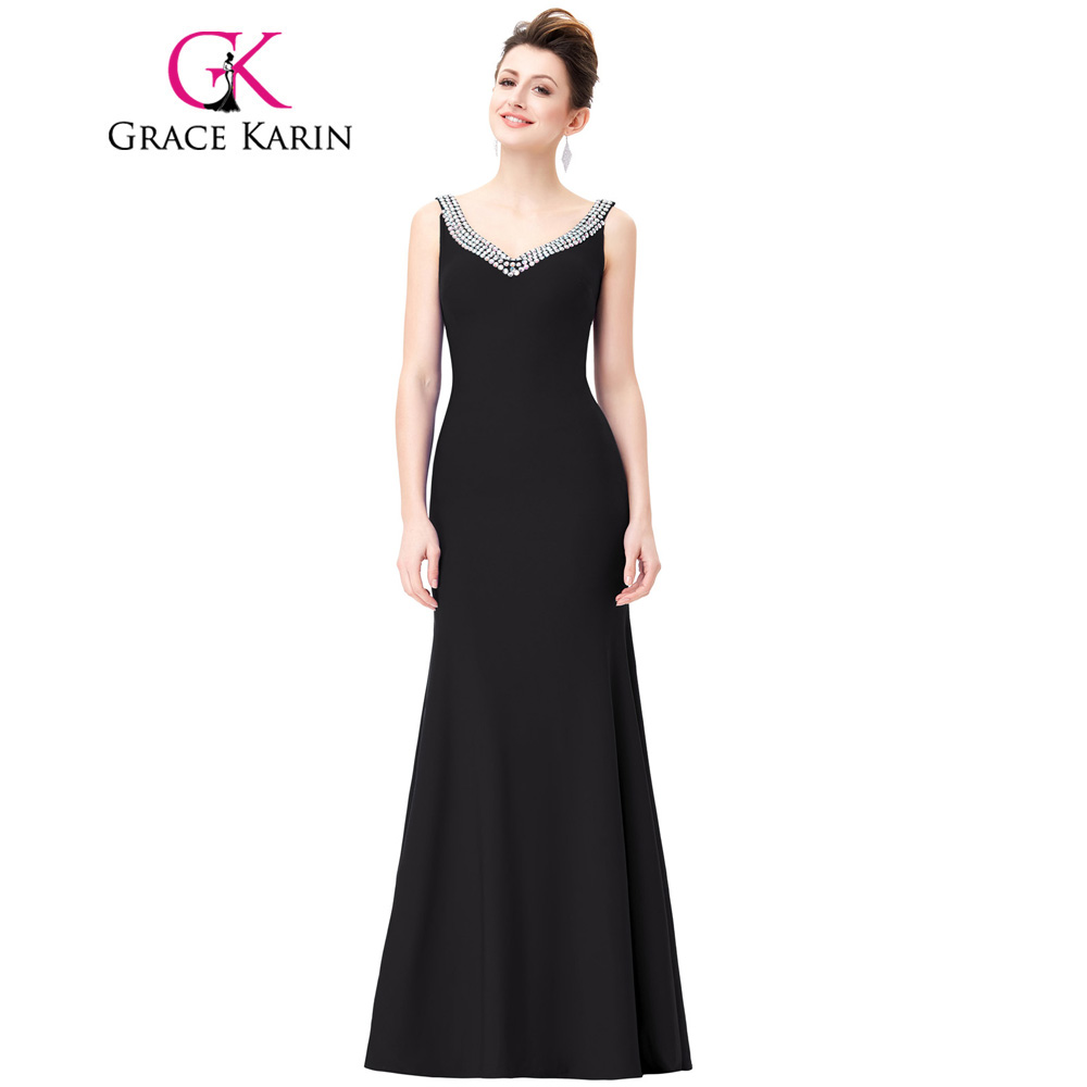 Black dress for wedding party - Grace Karin Black Evening Dresses V Neck Sequin Backless Wedding Party Dresses Long Formal Gowns Sexy
