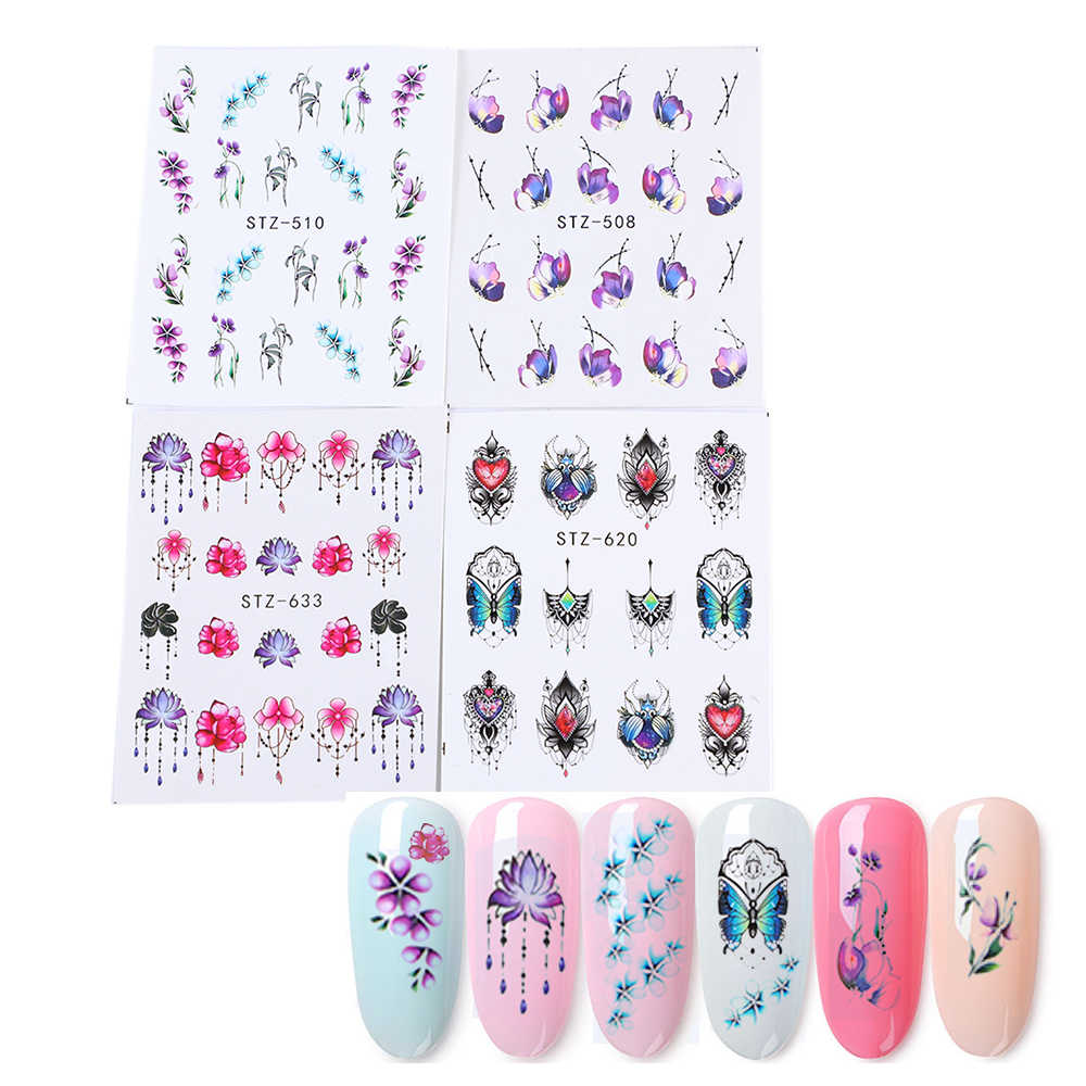 Manooby 1 Pcs Watercolor Floral Flower Sticker Nail Decals Set Flamingo Sea Horse Designs Gel Manicure Decor Water Slider