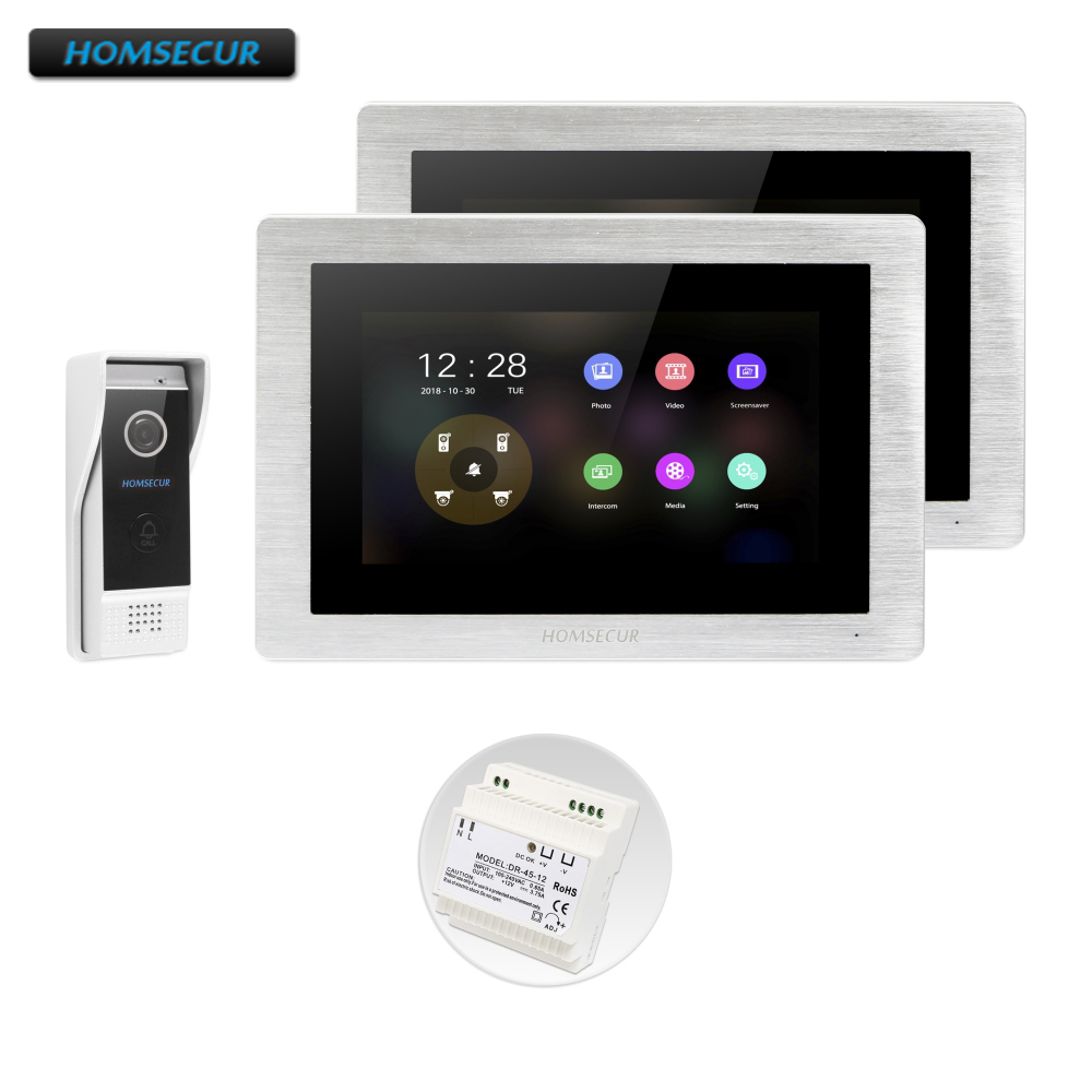 HOMSECUR 4 Wire Video&Audio Smart Doorbell Support Digital Frame For House/Flat BC031HD-B+BM714HD-S