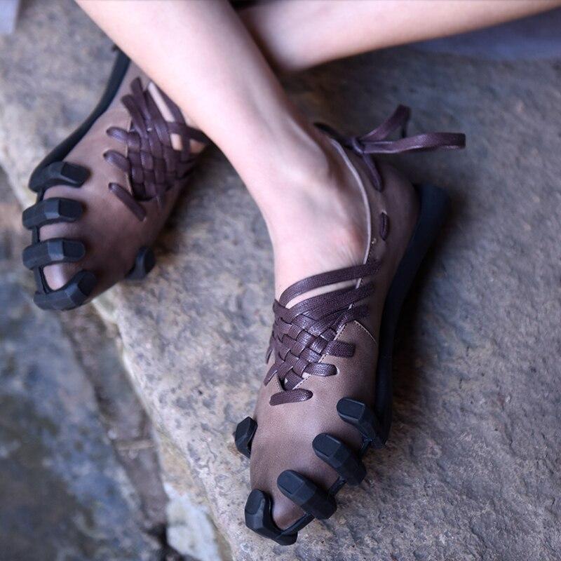 Artmu Original Women Shoes Handmade Genuine Leather Shoes Vintage Cowhide Shoes Casual Lace Up Woman Flats