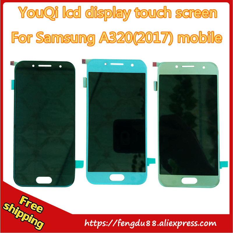 5 piece For Samsung GALAXY A3 2017 A320y A320F A320D LCD Display Touch screen Panel Digitizer Glass Assembly Free Shipping