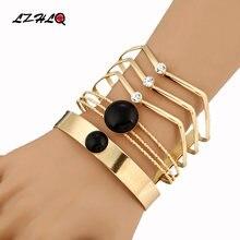 Lzhlq широкие металлические браслеты в стиле панк для женщин