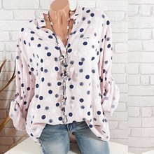 Plus Size Summer Women Adjustable Long Sleeve Polka Dot Print Shirts Mandarin Collar Stand Collar Pocket Casual Blouses
