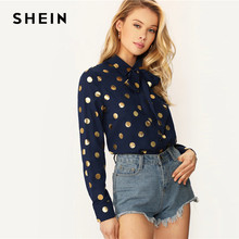 SHEIN Classy Navy Tie Neck Single Breasted Polka Dot Top Long Sleeve Blouse Women Spring Autumn 2019 Elegant Office Lady Blouses(China)