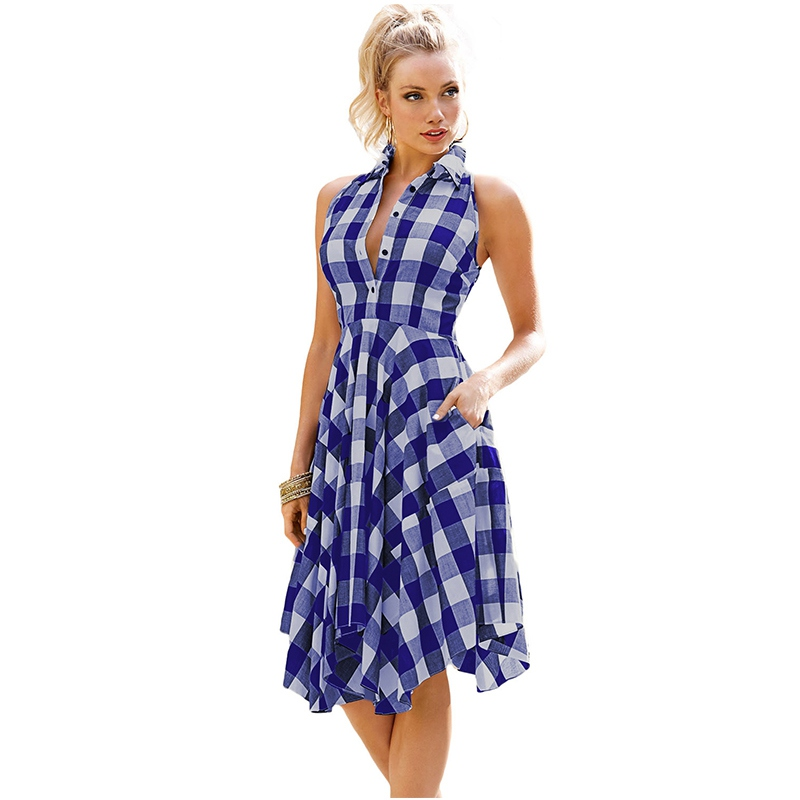 Irregular Plaid Shirt Dress Leisure Vintage Dresses Summer Women Sleeveless Casual Button Knee-Length Robe Blue Red vestidos