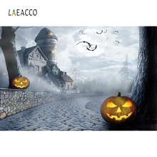 Laeacco Pumpkin Lantern Photography Background Customized Black Castle Halloween Day Photographic Backdrops for Photo Studio