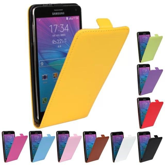 Funda de cuero auténtico de lujo funda con tapa para teléfono móvil accesorios bolsa Retro Vertical para Samsung GALAXY NOTE 4 PS