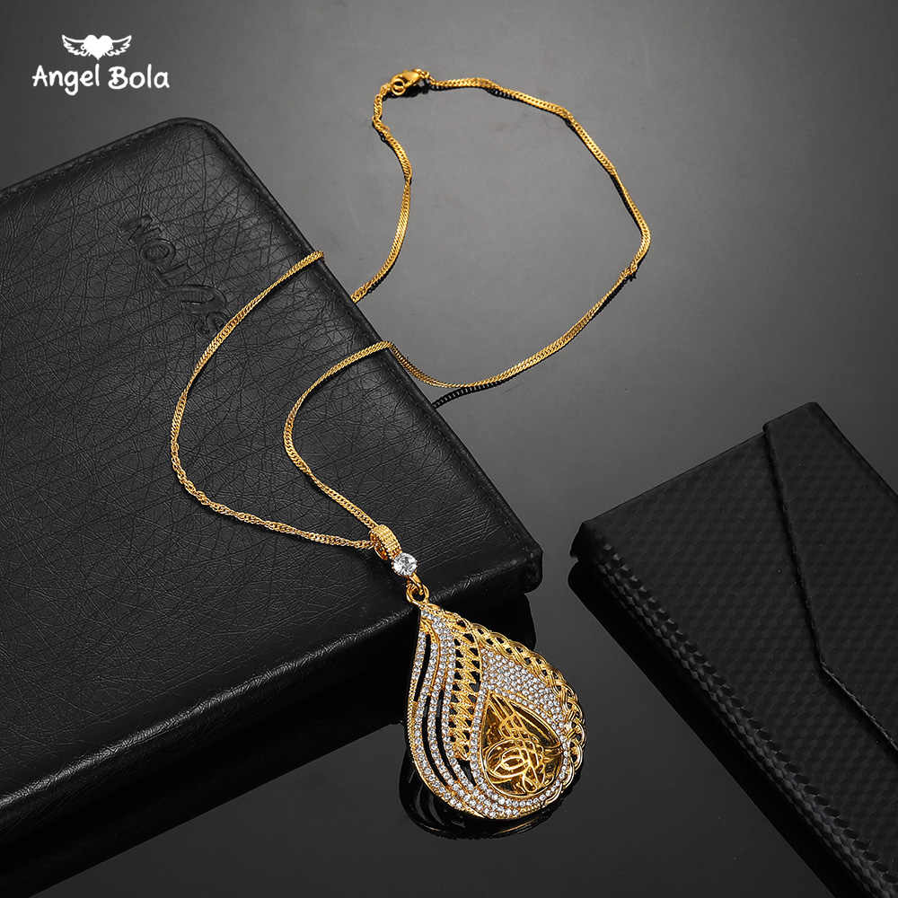 Metal Coin Muslim Islam Allah Necklace for Turks Gold Color Arab Pendant Middle East Arab Jewelry Rhinestone Turkish for Women