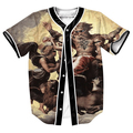 Trap God Jersey TEES OVERSHIRT BASEBALL SHIRTS PUNK TOPS  MEN'S CLOTHING SUMMER STYLE 3D PRINT with Single Breasted