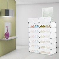 6 Layers Modern Design Interlocking Shoe Rack Closet Wardrobe Standing Storage Organiser Cabinet DIY Plastic Storage Wardrobe