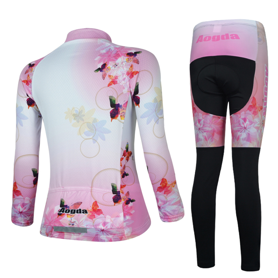 eb8c8c3fd Aogda Women s Cycling Kit Summer Pink Cycling Jersey Set Long Sleeve Road  Bike Clothes Breathable Quick Dry Roupa De Ciclismo