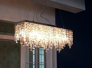 Image 2 - Modern Chinese simple fashion creative rectangular K9 crystal LED chandelier bar restaurant lighting Ceiling Lamp LED Fixture