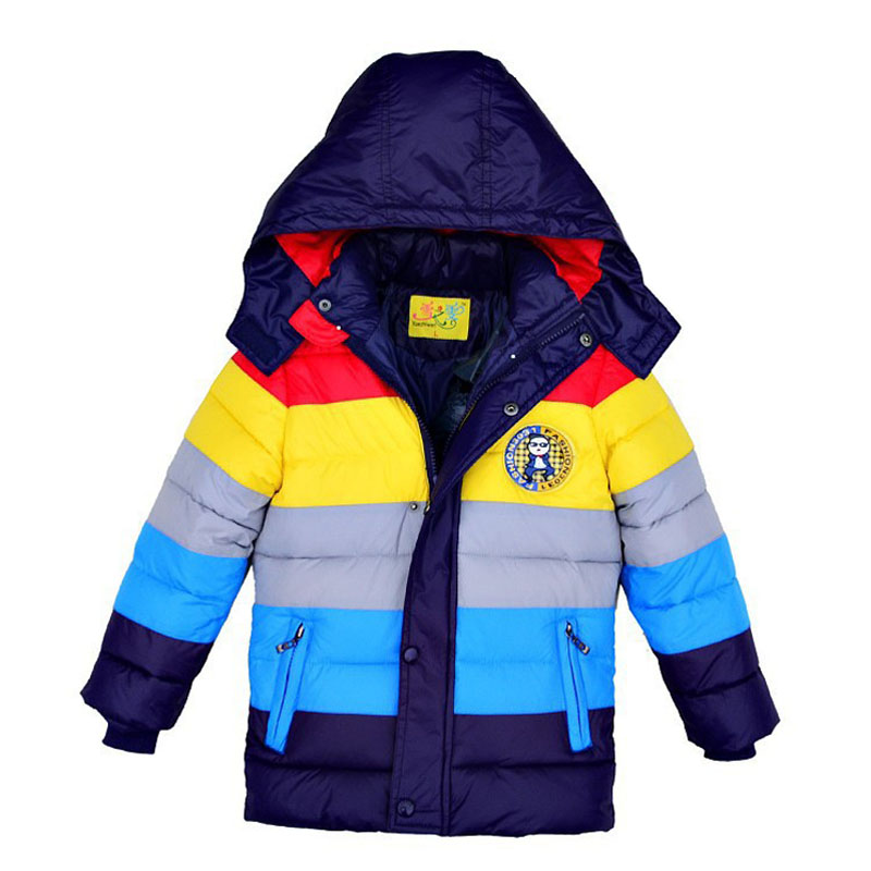 2020 New Winter Boy Coat striped Color Boys Cotton-padded <font><b>Jacket</b></font> <font><b>Kids</b></font> Winter Duck Down Cotton Coat for boy image