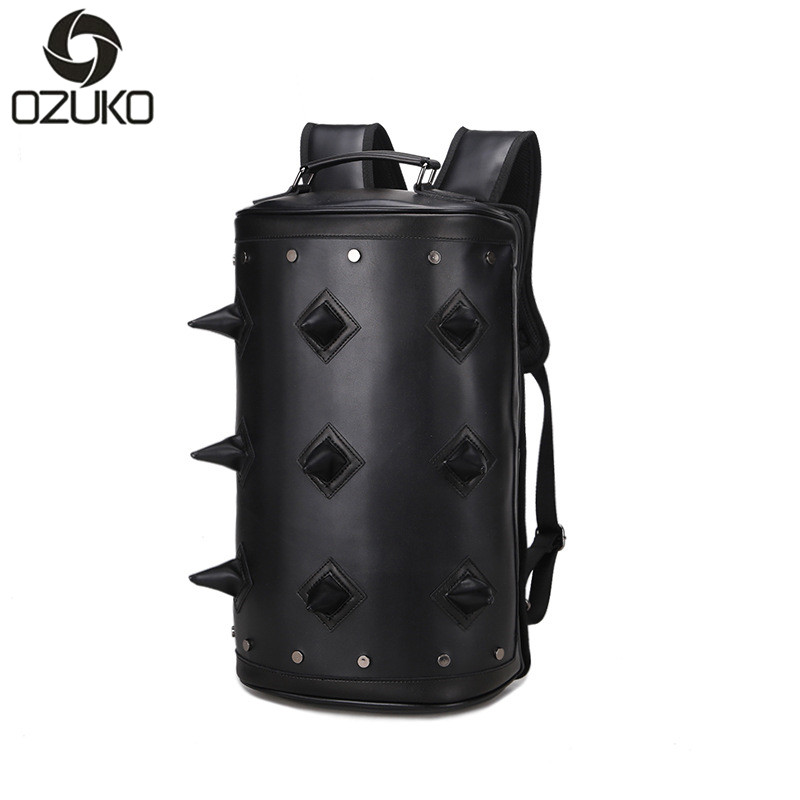 Fashion Leather Backpack Men Laptop Backpack Rivet Hedgehog Backpack Bagpack Mochila Feminina School Bags For Teenagers good quality wholesale and retail chrome finished pull out spring thermostatic kitchen faucet swivel spout vessel sink mixer tap
