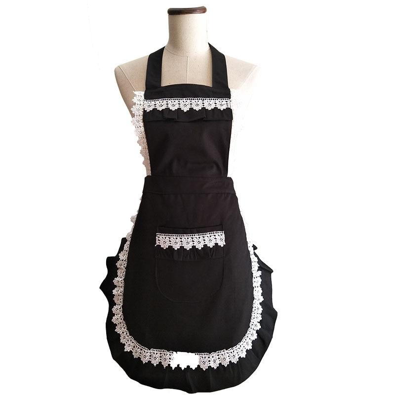 Retro Kök Förkläde Kvinna Svart Bomull Lace Mode Restaurang Bistro - Hushållsvaror