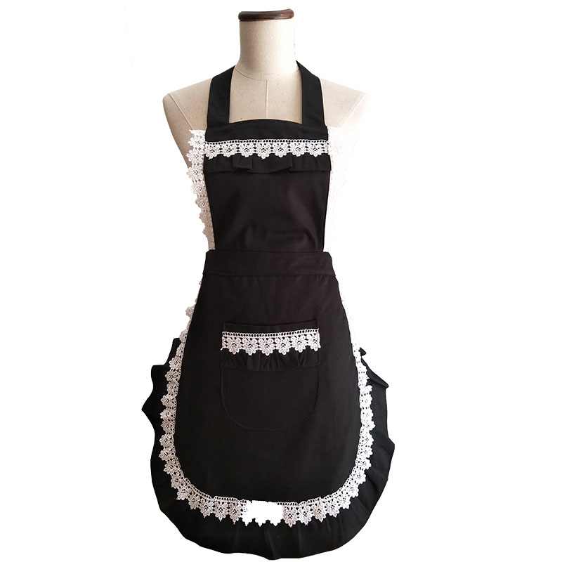 Retro Kitchen Apron Woman Black Cotton Lace Fesyen Restaurant Bistro - Barang dagangan isi rumah