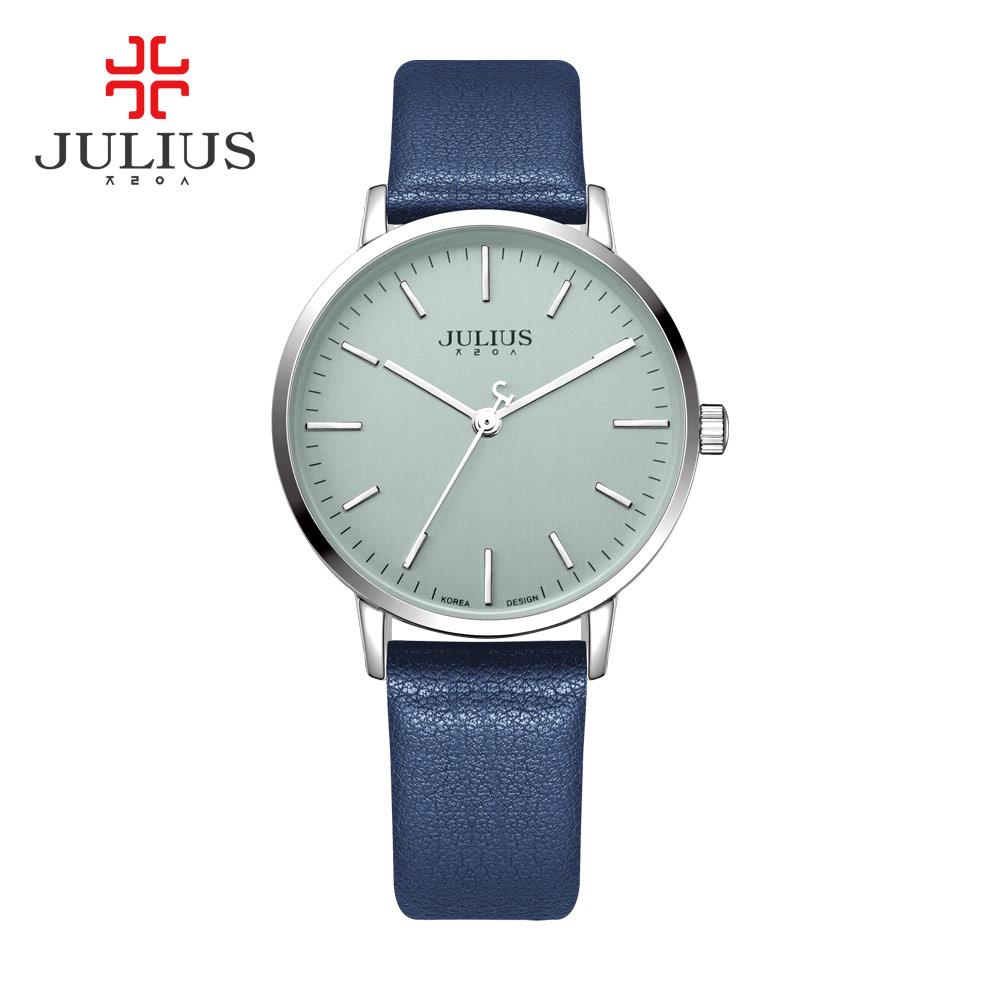 Prix pour Julius Marque Corée Designer Montres Femmes Quartz Bracelet Montres Dames En Cuir Or Rose Simple Montre-Bracelet JA-922 montre femme
