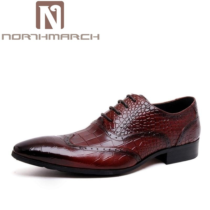 NORTHMARCH Oxford Shoes Men Genuine Leather Men Shoes For Wedding Dress Leather Shoes Men Oxfords Flats Chaussure Cuir Homme dekesen brand men casual shoes lace up 100% cow leather men flats shoes breathable dress oxford shoes for men chaussure homme
