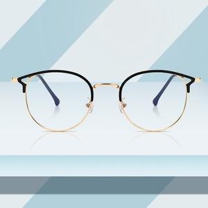 Image 1 - Hot Sale Retro Cat Eyes Glasses Frame Anti Blue Light Men Women Flat Mirror Metal Optical Eyeglasses Frame for Women PL1112