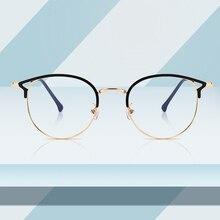 Sıcak satış Retro kedi gözler gözlük çerçeve Anti mavi ışık erkekler kadınlar düz ayna Metal optik gözlük çerçeve kadınlar için PL1112