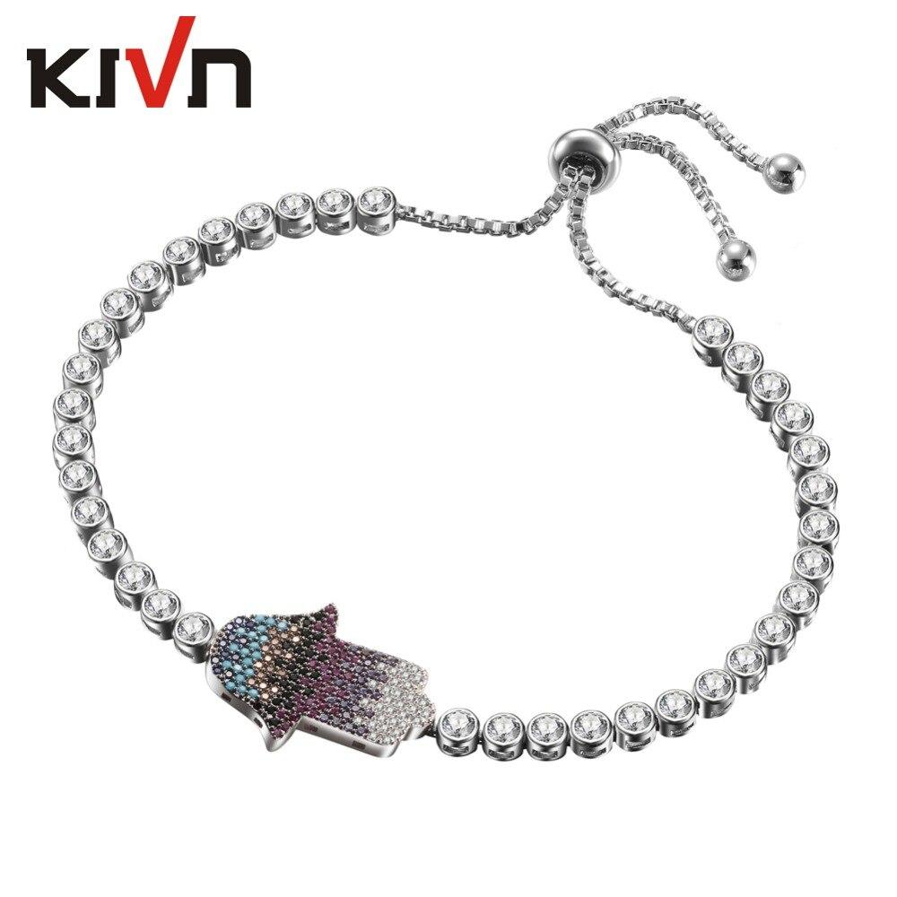 Womens Fashion Jewelry Adjustable Bolo Hamsa Hand CZ Cubic