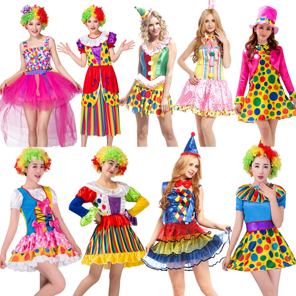 Halloween Party Carnival Adult Female Circus Clown Costume Female Cosplay Costume Fancy Dress Ball Gown