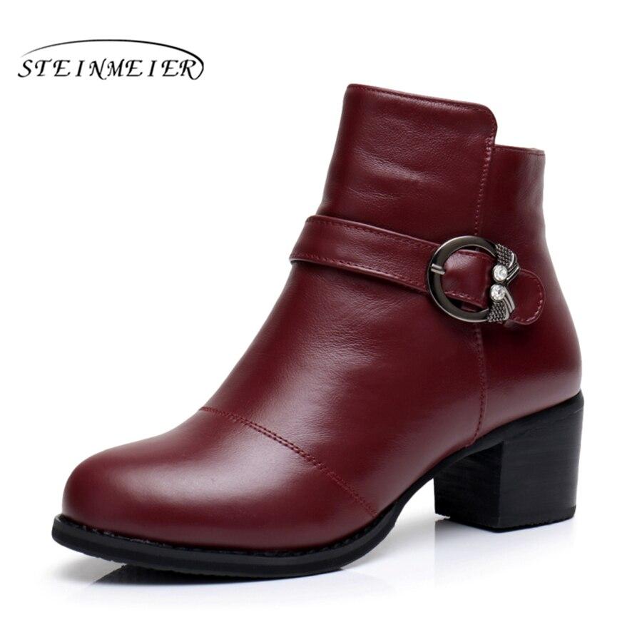 หนังแท้รองเท้าข้อเท้าที่มีคุณภาพสะดวกสบายรองเท้านุ่มบิ๊กสหรัฐขนาด9.5ยี่ห้อออกแบบที่ทำด้วยมือที่มีขน2018สีฟ้าสีดำสีแดง-ใน รองเท้าบูทหุ้มข้อ จาก รองเท้า บน   1